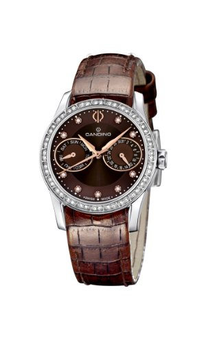 Candino Women's Quartz Watch with Brown Dial Analogue Display and Brown Leather Strap C4447/2