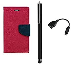 D'clair Combo of Flip Cover with OTG Cable and Stylus for Samsung Galaxy Win/Ouattro Dark Pink