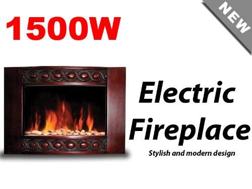 New 1500W Deluxe Wood Wall Mount Electric Fireplace Space Heater 1500 Watts BG04 image B00HGJLGOM.jpg