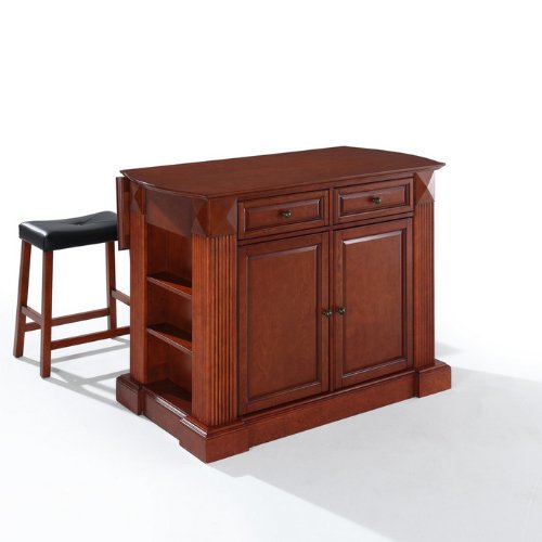 Crosley Furniture Drop Leaf Breakfast Bar Top Kitchen Island 24-Inch Upholstered Saddle Stools at Sears.com