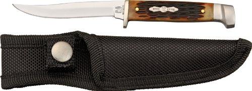 Rough Rider Small Hunter Fixed knife 6.25in, Full tang Blade, Amber jigged bone handle