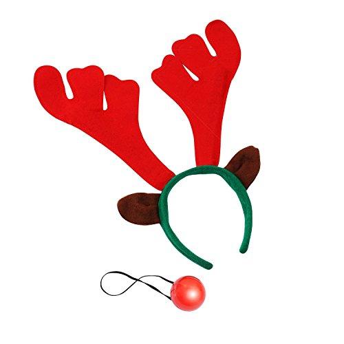(クリスマスショップ) Christmas Shop トナカイの耳・ツノつきカチューシャとライトアップするお鼻 2点セット クリスマスパーティーグッズ (ワンサイズ) (トナカイ)