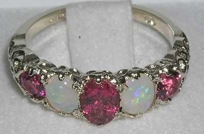 925 Sterling Silver Natural Pink Tourmaline and Opal Womens Band Ring - Sizes 4 to 12 Available