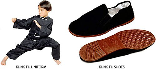 Gungfu Kung Fu Uniform (Brown Plastic Sole Sz. 6.5 - 7) Combo Package Deal - Color: White/White, Size: KSmall