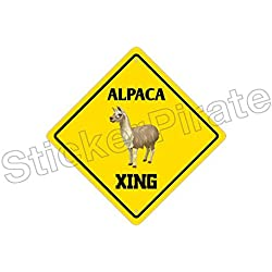 Alpaca Crossing Funny Metal Novelty Sign