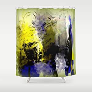 Society6 Blue And Yellow Abstract With Black Shower Curtain By Jessielee Home