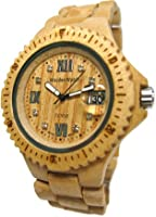 Tense Wood Watch Mens Round Light Maple Wood Calendar G4100M RNLF from Tense