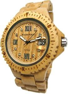 Tense Wood Watch Mens Round Light Maple Wood Calendar G4100M RNLF from Tense