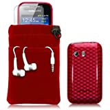SAMSUNG GALAXY Y S5360 4 PC LUXURY GIFT ACCESSORY PACK - RED TPU GEL SKIN / CASE / COVER + SCREEN PROTECTOR + HEADSET + POUCH CASE PART OF THE QUBITS ACCESSORIES RANGEby Qubits