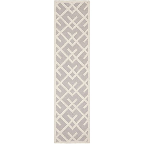 Safavieh Dhurries Collection DHU552G Hand Woven Grey and Ivory Wool Runner, 2 feet 6 inches by 6 feet (2'6
