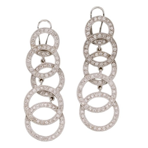 Designer Inspired Multi Circle Pave C.Z. (.925) Sterling Silver Earring (Nice Holiday Gift, Special Black Firday Sale)