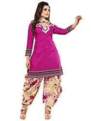 Women Icon Pink Printed Un Stitched Patiyala Suit WICCC1217A