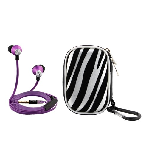 Ikross Purple In-Ear 3.5Mm Noise-Isolation Stereo Earbuds With Microphone + Zebra Accessories Carrying Case For Arnova 10D G3, 9 G3, 7 G3, 8 G3, 10B G3, 7 G2 Tablet Smartphone Cell Phone And Mp3 Player
