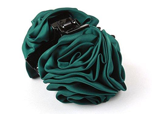 ヘアクリップ 薔薇 花 6輪 青緑