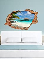 Ambiance-sticker Vinilo Decorativo Beach, Palm And Bungalow View