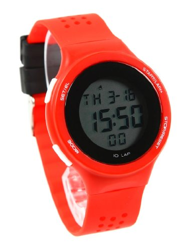 Korean Retro Girls Students Contrast Color Led Sport Watches Red