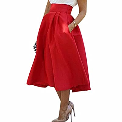 Fashion Red High Waist Pleated Women Ol Summer New Mid-Calf Tulle Skirts Jupes