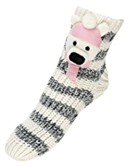 Cotton Rich 3D Polar Bear Knitted Slipper Socks