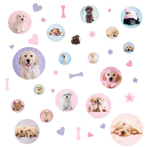 Roommates Rmk1650Scs Puppy Spots Peel And Stick Wall Decals, 37 Count