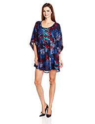Roxy Women's Rayon Skater Dress (ARJWD03085_Midnight Palm and Dark Navy_M)