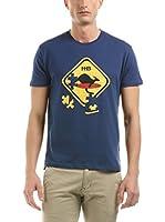HOT BUTTERED Camiseta Manga Corta Puzzle (Azul Marino)