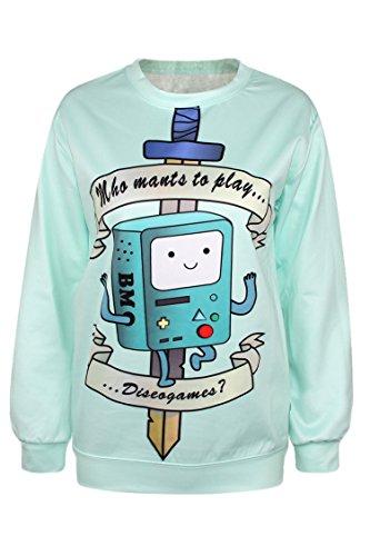 Pink Queen 3D Hot Women Digital Print Long Sleeve Pullover Sweatshirt Sweater (Cute)