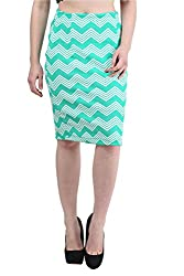 Mayra Women's Cotton Stretch Pencil Skirt (1512B11003_S, Green )