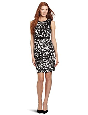 Calvin Klein Women's Combo Sheath Dress, Black/Birch Multi, 4
