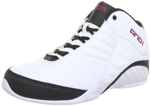 And1 Mens ROCKET 3.0 MID Basketball Shoes  White Weiß (White/Black/Red) Size: 14.5 (50 EU)