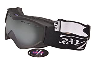 2014 Rayzor Professional UV400 Double Lensed Ski / SnowBoard Goggles, With a Matt Black Frame and a Vented Anti Fog Coated, Smoked Mirrored Anti-Glare Wide Vision Clarity Lens.