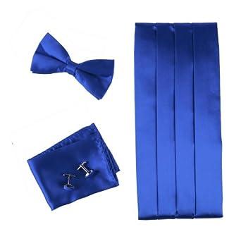 Blue Silk Pre-tied Bow Tie for Shirt for Marriage Hanky and Cummerbund Cufflinks Set with Box Cm1010  Blue
