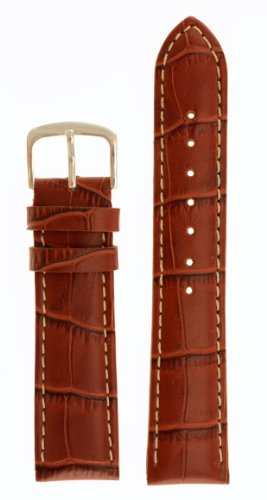 Men's Alligator Grain Watchband - Natural Matte Finish - Color Brown Size: 16mm Watch Strap