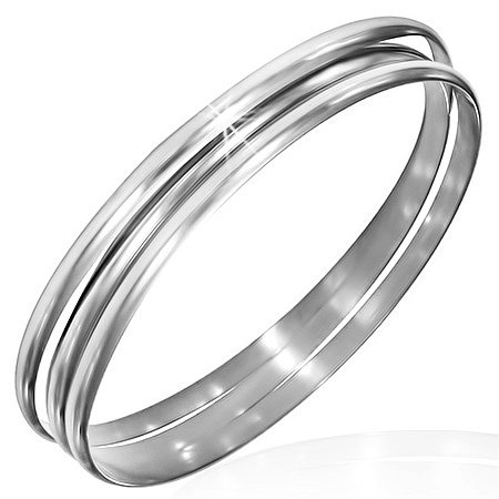 Stainless Steel Silver-Tone Three Stackable Womens Bangle Bracelets Set By My Daily Styles