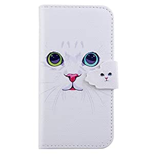 IKASEFU Leather Case for iphone 5S,Flip Leather Wallet Case Cover for iphone 5S,Cute Animal White Cat Design Folio Book Style Magnetic Case with Stand and Card Holder for iphone 5S-White Cat