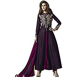 pakiza design new chain silk partywear anarkali suit dress material for festival (1607-PURPLE)