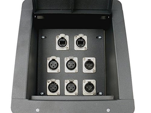 Elite Core Recessed Stage Floor Box 4 XLR Female & 2 XLR Male & 2 Ethernet RJ45 Connectors
