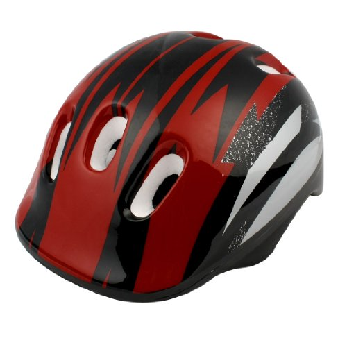 Como Adults Red Black Strip Skateboard Bicycle Bike Cycling Skating Foam Helmet