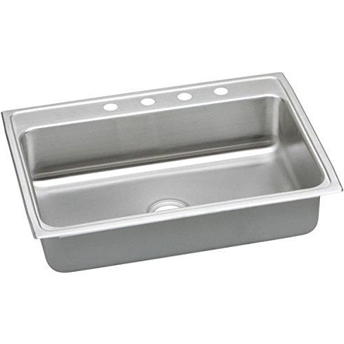 Elkao|#Elkay LRAD312240MR2 18 Gauge Stainless Steel 31 Inch x 22 Inch x 4 Inch single Bowl Top Mount Kitchen Sink. Lustrous Highlighted Satin,