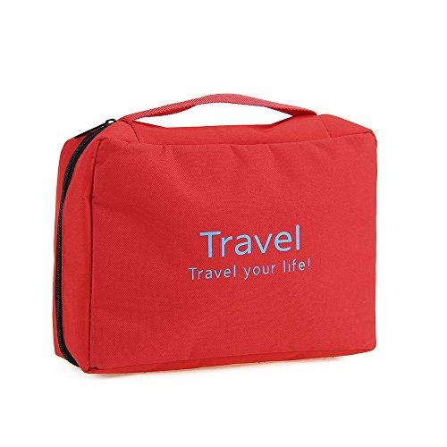 Foxpic Pieghevole Make Up Tasca da Toilette Impermeabile Borsa di Cosmetici Appreso di Viaggio -Rosso