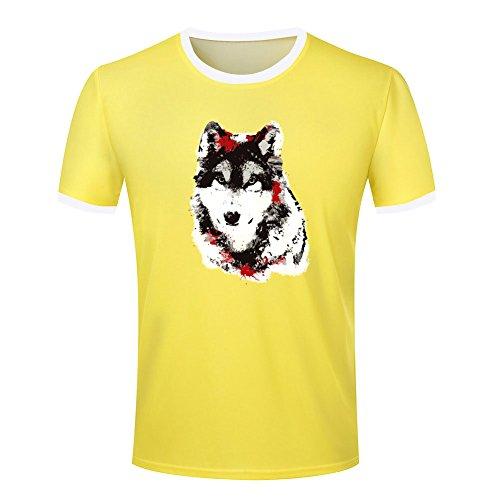 Wolf painting design mens ringer t shirt XXL