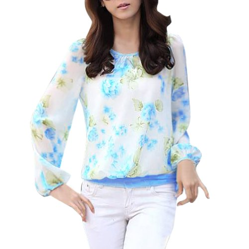 Lalama Women'S Floral Crew Neck Puff Sleeve Loose Chiffon Blouse Blue