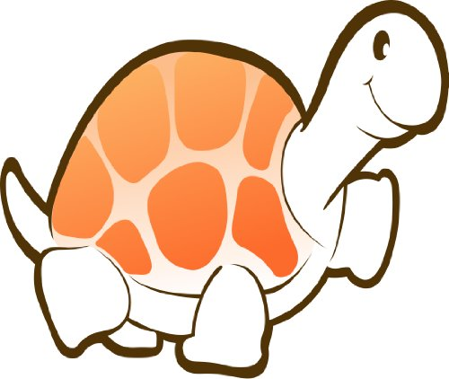 Children'S Wall Decals - White Turtle With Pink Shell, Orange Spots - 12 Inch Removable Graphic