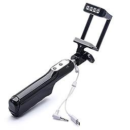 EFOSHM U-Shape Self-portrait Monopod Extendable Selfie Stick with Flashlight LED for iPhone 6, iPhone 5S, Samsung Galaxy S6 S5, Android,IOS -Black