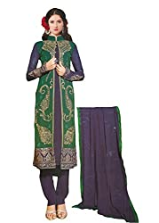 Namrah Collection Women's Georgette Straight Salwar Suit (2602, Green)