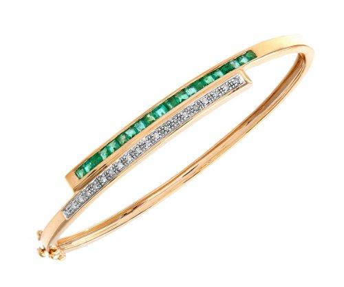 9ct Yellow Gold 0.10ct Diamond And Emerald Double Row Bangle