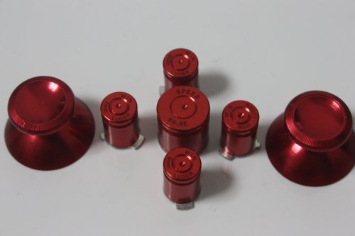 *New* Custom Xbox 360 Metal Red 9Mm Abxy/Guide Bullet Buttons And Metal Thumbsticks Mod Kit