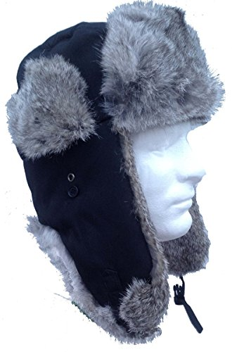 black-nylon-real-silver-rabbit-fur-trooper-trapper-aviator-hat-xl