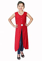 Titrit Red Cape Dress Without Legging