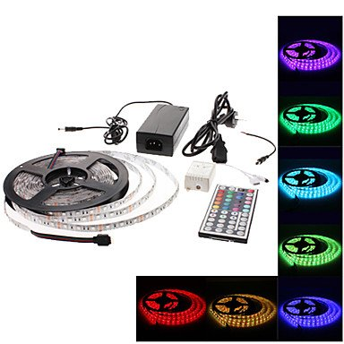 Jje Waterproof 5M 300X5050 Smd Rgb Led Strip Light With 44-Button Remote Controller And Ac Adapter Set (100-240V)