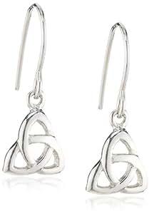 Heritage Womens Sterling Silver Celtic Trinity Drops Earrings 6223HP